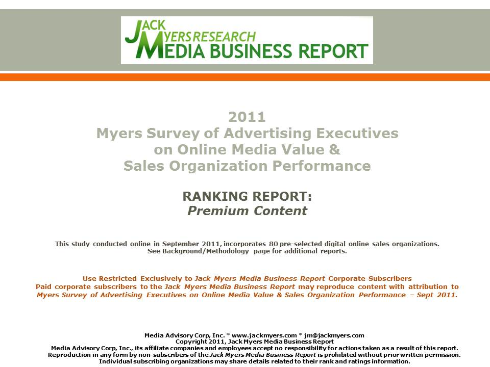 Cover image for  article: Myers Online Media Survey Report Attached: Premium Content